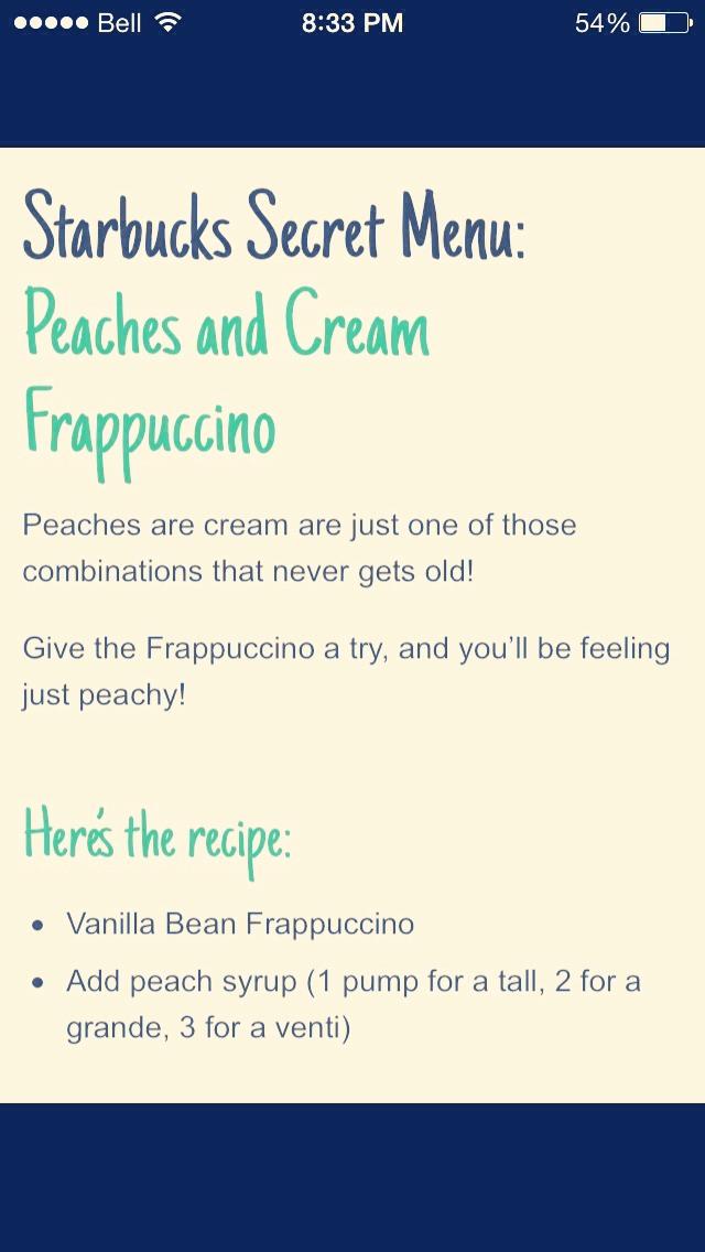 Peaches and Cream Frappucino