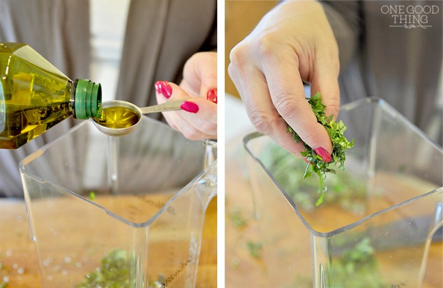 Pour the oil into the blender (or food processor) and add the herbs.