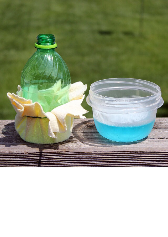 Fill a dish with bubble solution or soapy water