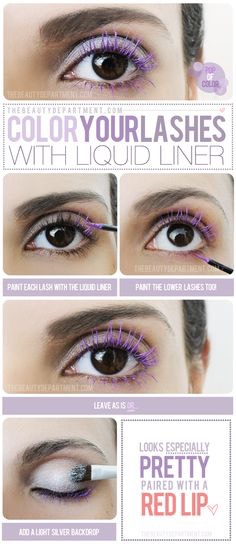 Easy way to color your lashes if you don't have colored mascara! make your own with liquid liner! You can also use any color eyeshadow, scrape the eyeshadow onto a palette or something, put a few drops of eye drops, mix, and apply to eyelashes! Google for better instructions if these dont make sense
