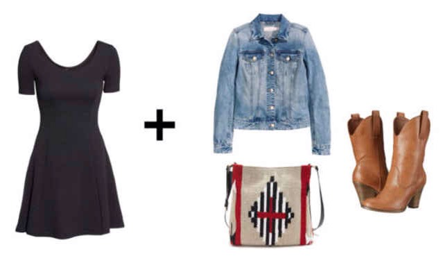 For that summer rodeo or country concert, pair your dress with a distressed denim jacket and cowboy boots. For the finishing touch, throw on a crossbody bag with a pop of southwestern print.