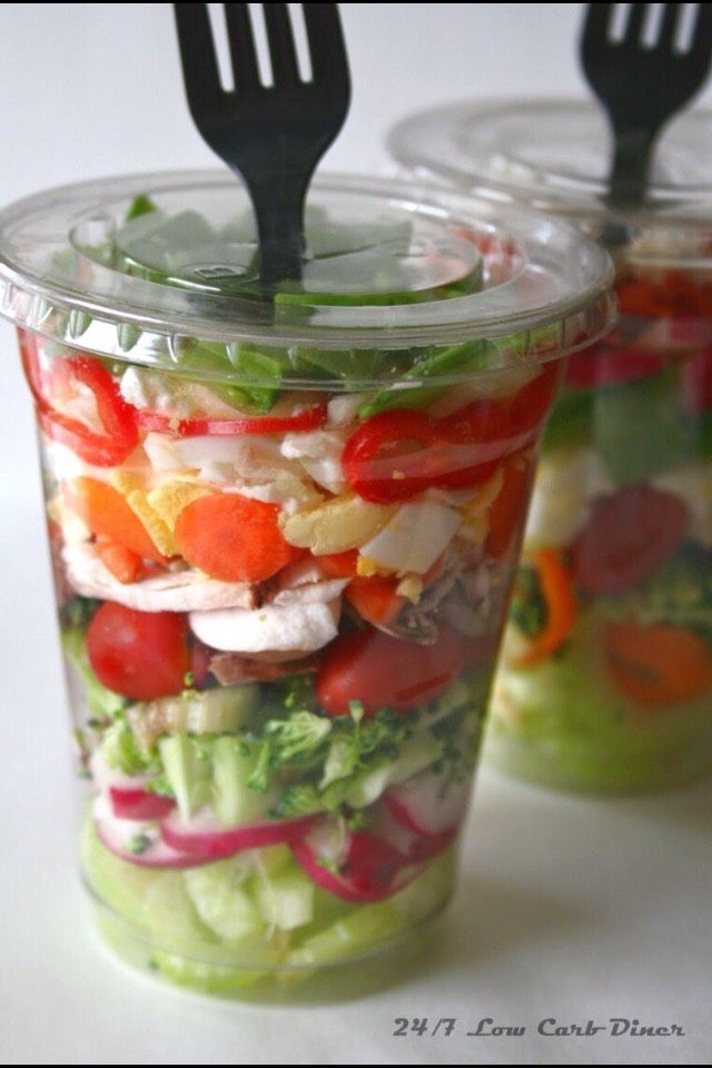 Salad in a Cup!! I love this option because you can customize It anyway you want! it's pretty, yummy and healthy!!
