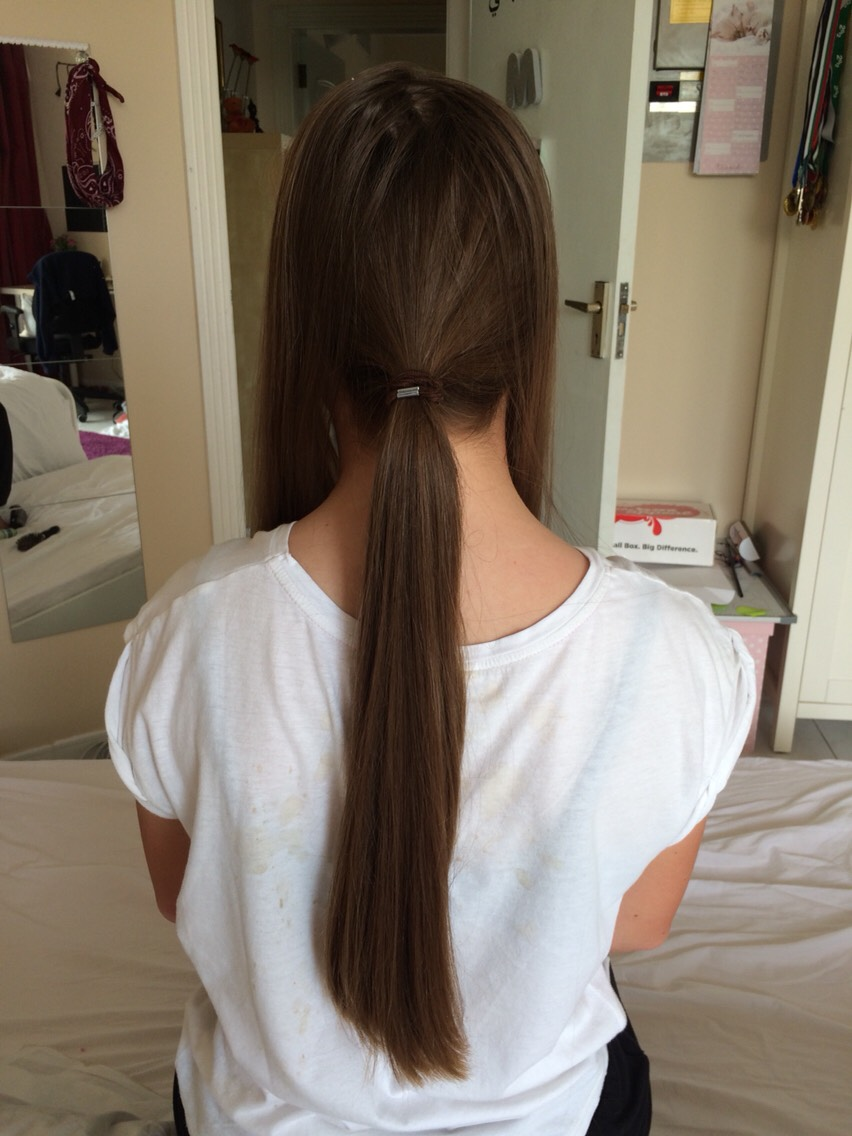 Part your hair into your lower half and put this into a pony tail. Make sure the only parts you leave out are the ones you put up in the small pony tail. This should be only the top part of your hair