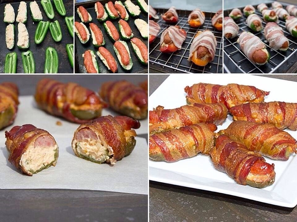 Ingredients 10 jalapeno peppers 10 bacon slices, cut in half 10 mini sausages or smokies (or 20 if they are very small) 1 cup cream cheese 1 cup grated monterey jack 1 tsp chipotle powder 2 shallots, minced