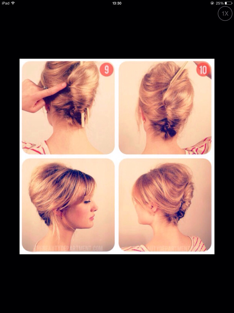 Twist low ponytail into the back of head securing into place with the amount of bobby pins you feel necessary