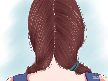 Divide your hair into two sections. Tie one section off for later using a clip or a ponytail holder.