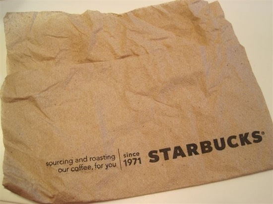 Starbucks napkins can be used as blotting paper!