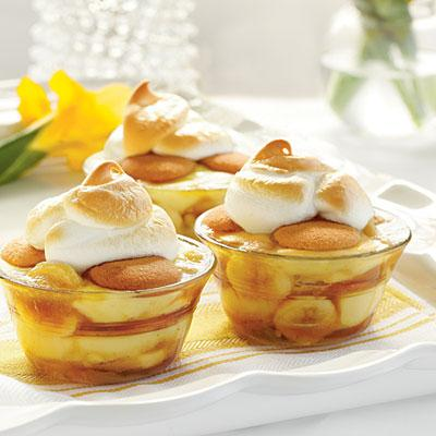 Remove from heat, and stir in vanilla. 3. Divide half of banana mixture, pudding, and wafers among 8 (1-cup) ramekins or ovenproof glass dishes. Layer with remaining banana mixture, pudding, and vanilla wafers.