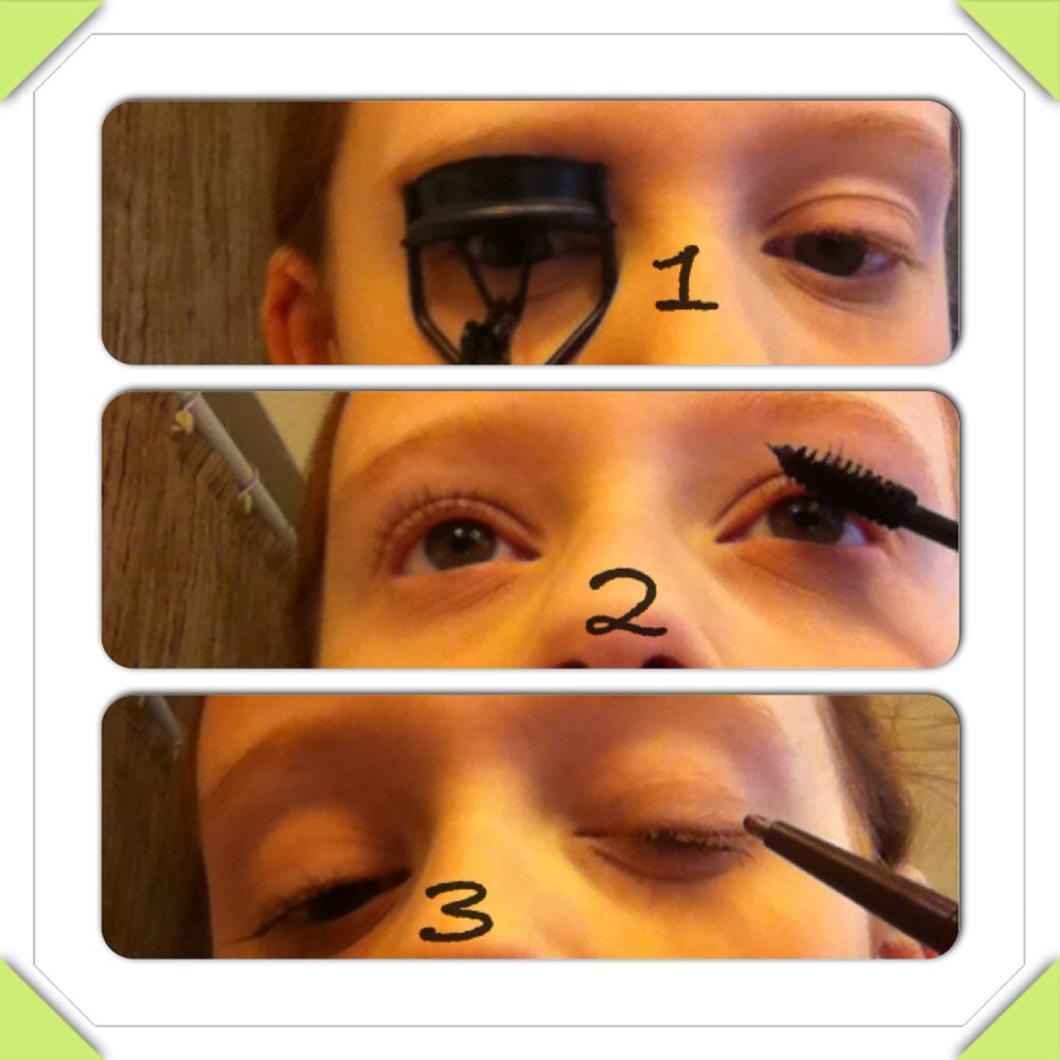 Curl lashes. Put on mascara. Apply a very thin line of eyeliner. I use a pencil liner.