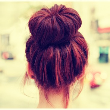 The messy bun🎩 First cut the end of an old sock off,  Roll the sock up till its in the shape of a donut, Tie your hair up in a messy pony tail,  Put your hair through the middle of the sock,  Wrap your hair around the sock and place a bobble around to keep it in place them pin the extra hair bits💁