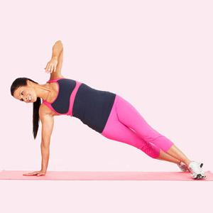 Plank Arm Row and Rotate What you'll need: a mat  Targets: Shoulders, upper back, chest, triceps, biceps, and abs  Start on floor in full push-up position, balancing on hands and toes, bodyforming a straight line from head to heels. Move feet slightly wider than shoulder-width apart.