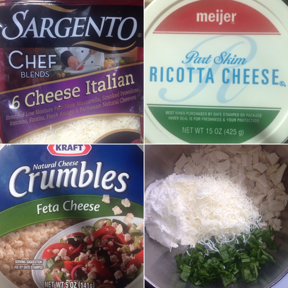 In the mixture, -1 1/2- 2lbs of, diced or shredded, cooked chicken -1 cup of chopped spinach -1 cup of 6 cheese Italian -20oz of ricotta cheese -1/4 cup of feta -1/4 of parmesan cheese -1 tsp of salt & pepper -1 tbsp of garlic powder -1 tsp of Italian seasoning -1 egg