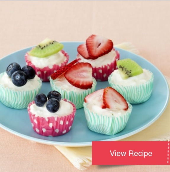 A snap to assemble, these kid-size treats combine sweet fruit and a refreshingly tart cheesecake-like filling<3