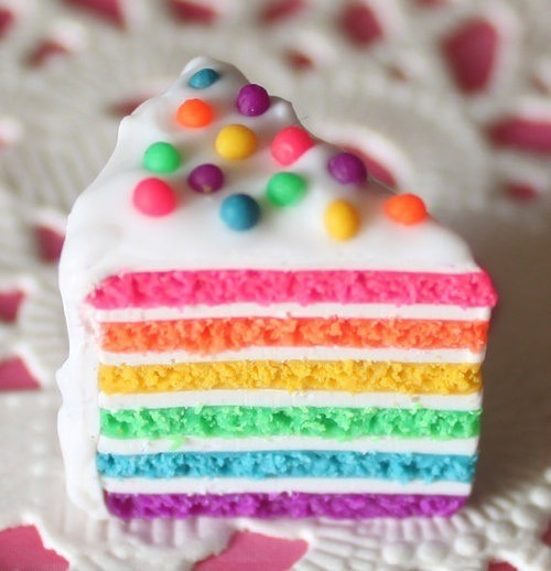 Have a cake made of rainbows and smiles and eat it and be happy!