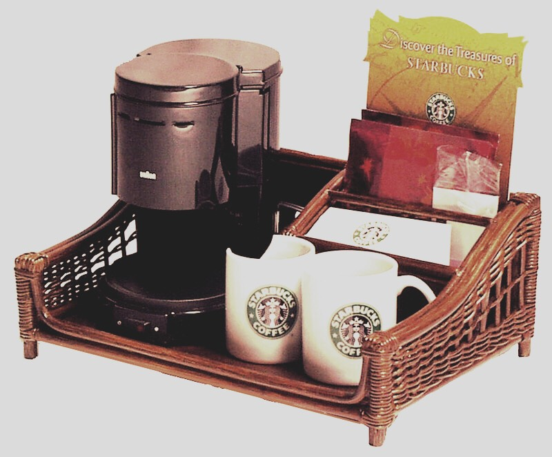 Keep coffee maker, sugar, creamer, and mugs on a tray to keep things easy to reach and organized.
