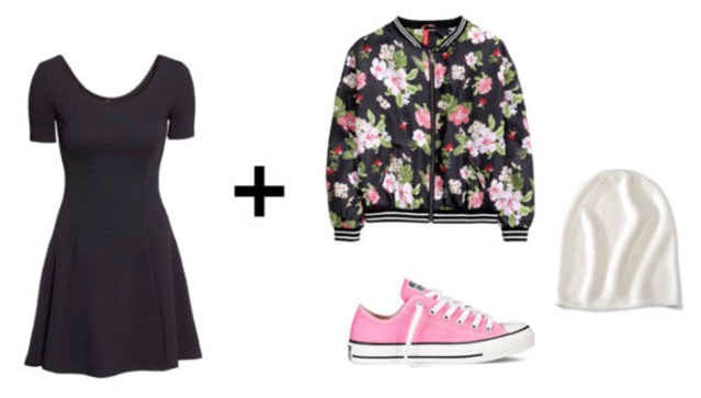 Want to give your dress a trendy and adventurous look? Layer on a floral bomber jacket and slip on a pair of pink sneakers. For chillier weather, add a slouchy beanie.