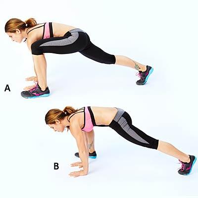 """Everest climbers  Start in the """"up"""" part of a push-up, with hands under shoulders and abs tight. Bend left knee, bringing left foot to outside of left hand (A). Jump left foot back as you simultaneously hop right foot forward so it's in line with right hand (B). Repeat, switching sides."""
