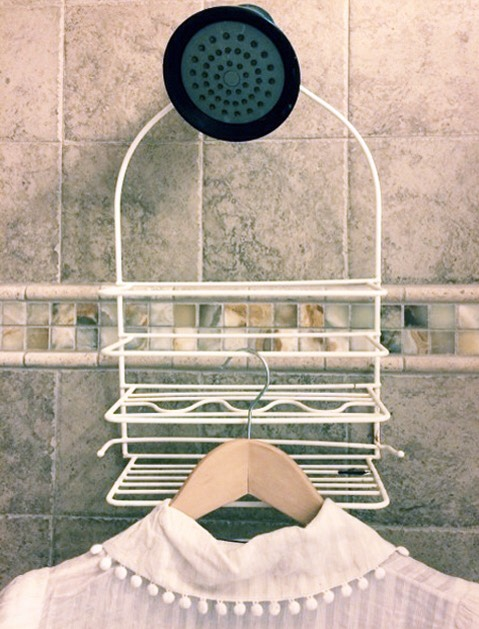 STEAM CLOTHES IN THE SHOWER  Close the windows and doors in your bathroom and hang wrinkled clothes from the shower rod. Then go about your normal bathroom routine. Fifteen minutes later, wrinkle-free clothes!