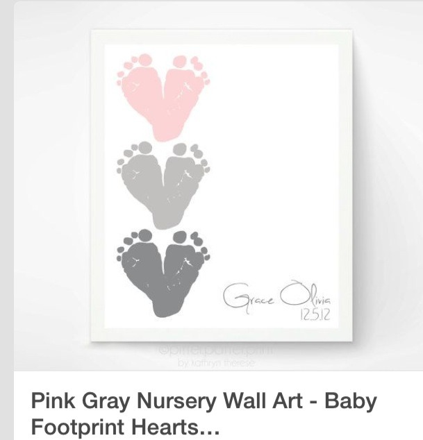 Use your child's footprint on canvas. And put their name on the right with their birthdate.