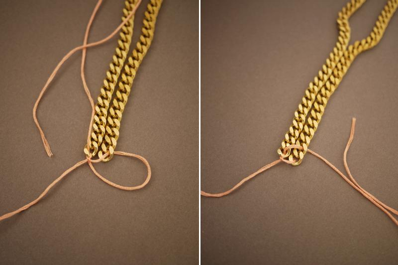 Thread the floss under the first link on the left side and through the top of the 2nd link on the right side.