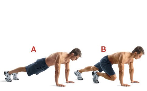 Straight arm plank position. Lift left foot to drive left knee to center of body. Keep switching legs as fast as you can. Do 3 sets of 1 minute