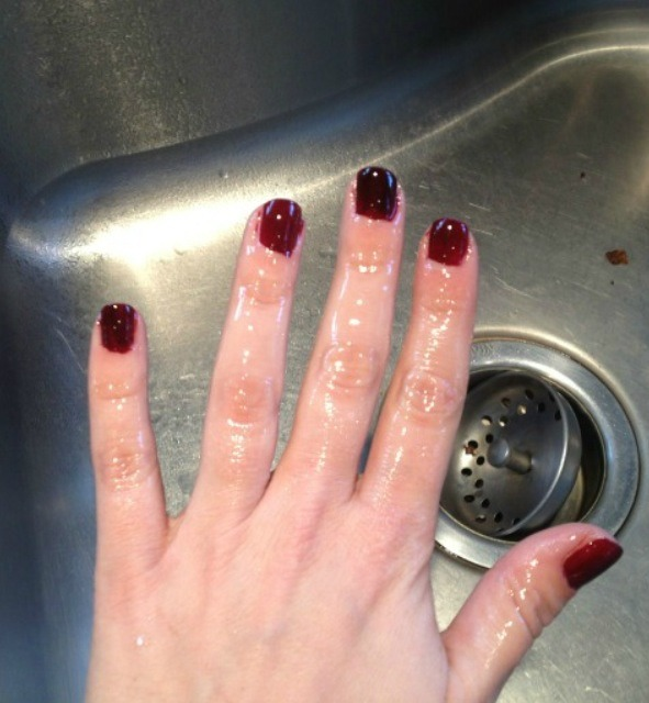 2. spray nails with Pam and let it sit for 1-2 minutes.