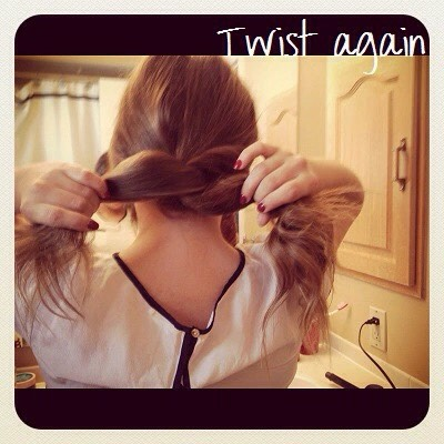 4.Twist the right side over the left. Repeat until hair is almost completely twisted, leaving ends loose.