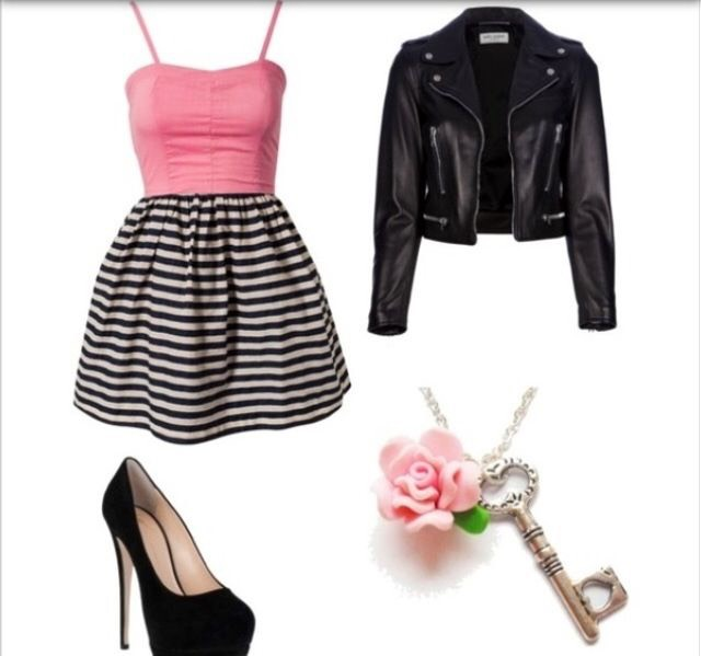 This leather jacket makes it really edgy and the bracelet, high heels, and dress make it very girly.