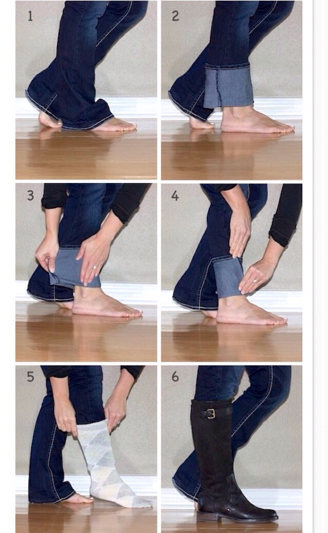 The right way to fold non-skinny jeans to fit into boots!