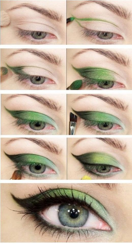Green cat eye look for green eyes.