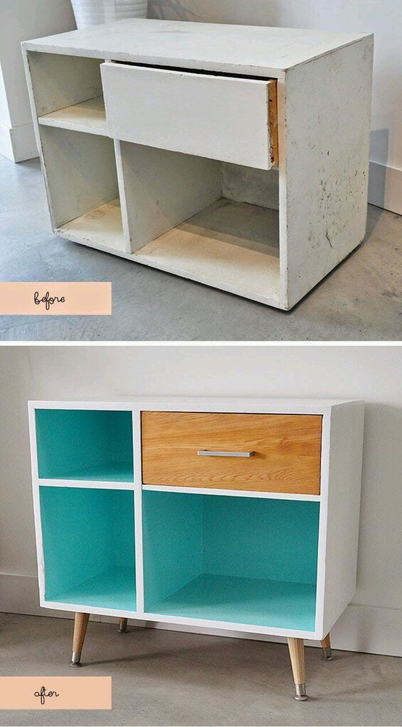 Paint the inside of your shelfs or paint your drawers