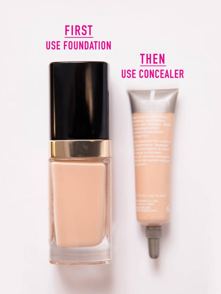 1. If you use foundation, apply it first, and then apply your concealer. If you apply your foundation first, you'll find that you don't need to use as much concealer. If you apply concealer first, however, you'll remove most of it while applying your foundation.