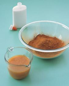 Mix together 1 cup ground cinnamon and 1/4 cup applesauce using a rubber spatula