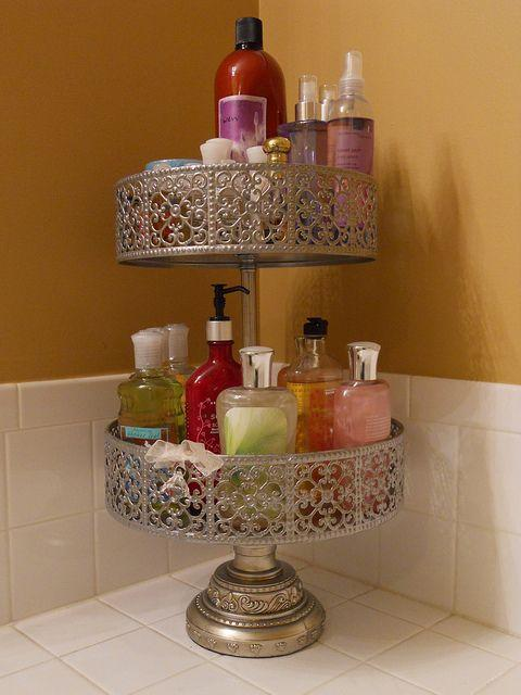 Use a food stand to store items on your bathroom sink or vanity!  Gorgeous and space saving!  Thanks for liking and sharing lovelies!  <3 xoxoxox