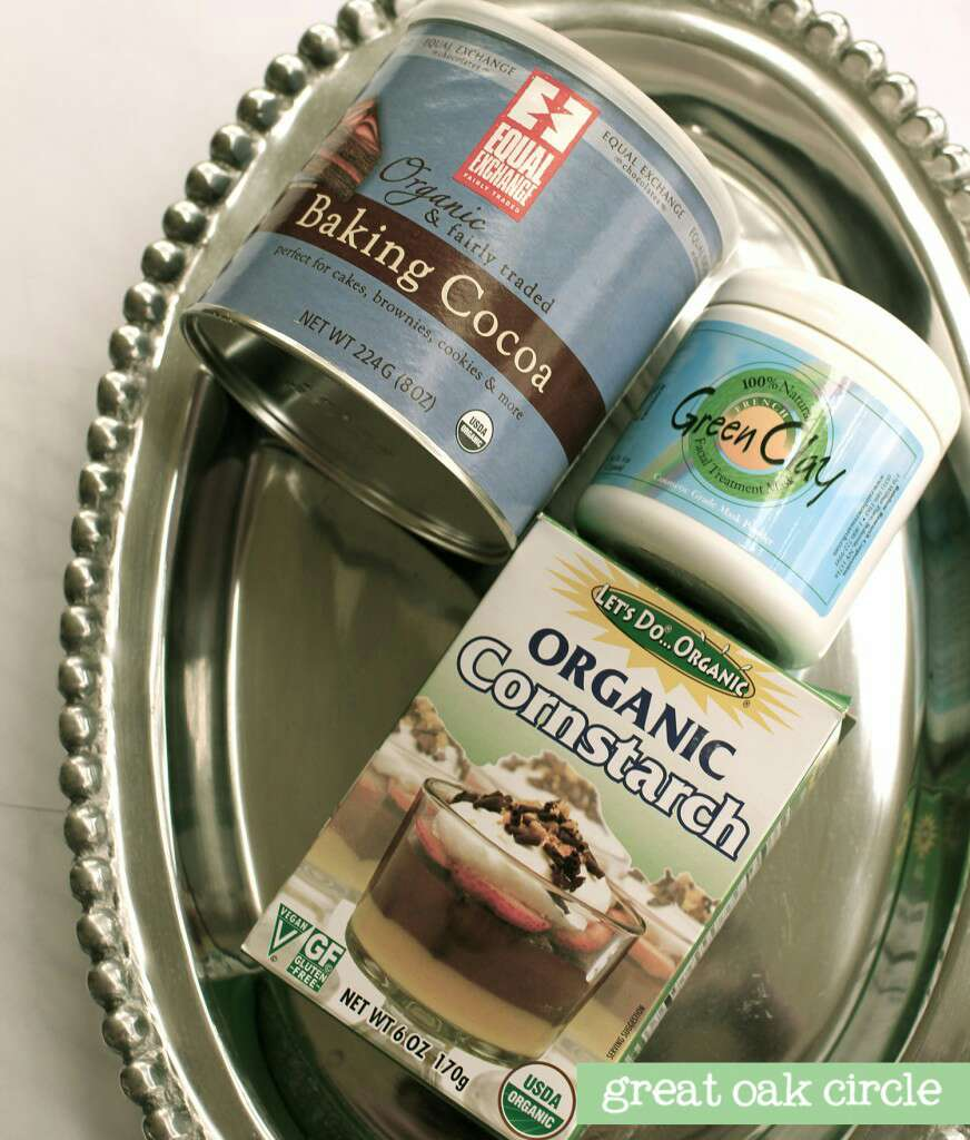 You will need organic cornstarch and French green clay. You can also tint a little with organic cocoa. These ingredients can be found at Whole Foods for a total of under $10, which will last you a long time.
