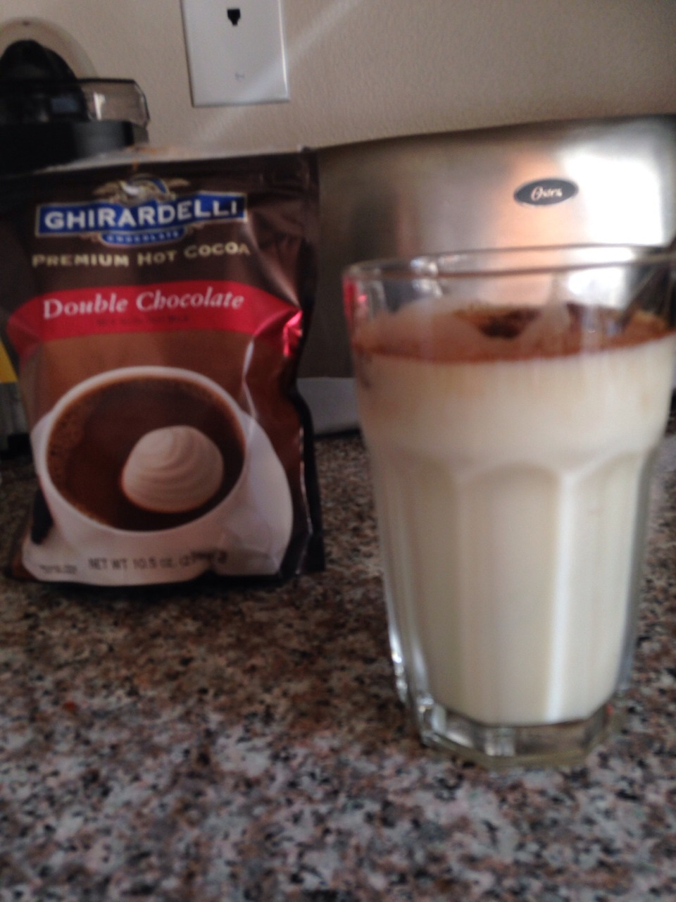 Add double chocolate hot cocoa mix and mix . Since you are mixing with cold milk the powder won't right away mix a lot
