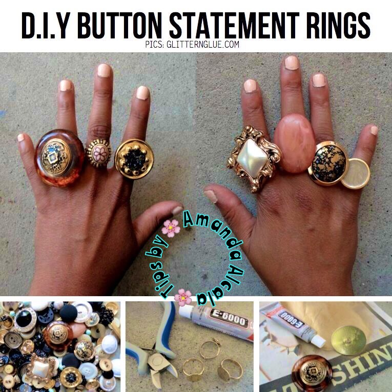 Super easy! Just take your E6000 glue and adhere the button to the blank ring platform. That's all! Rings can be purchased at any craft store such as Michael's.