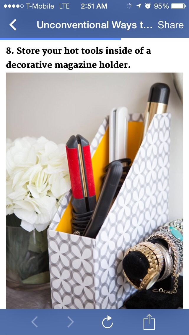 Store your hot tools inside of a decorative magazine holder!