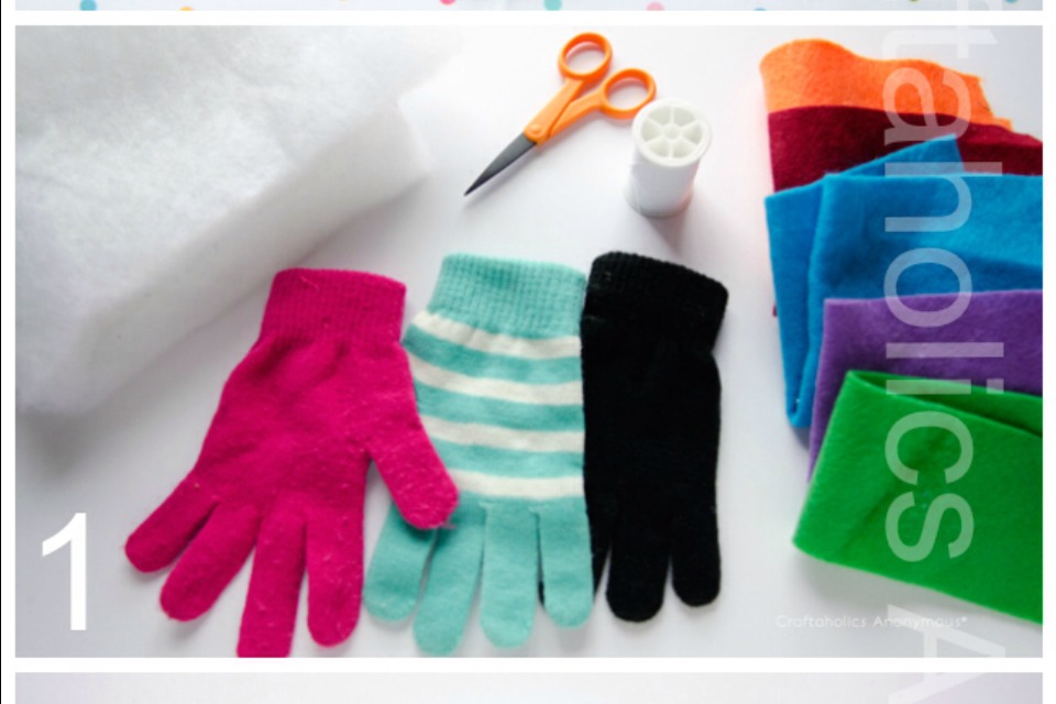 Supplies: gloves batting sewing machine with a roller foot or walking foot attached needle/thread buttons, felt, etc for embellishing