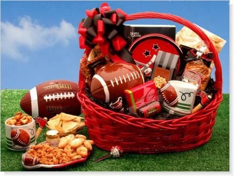 Football fan gift basket
