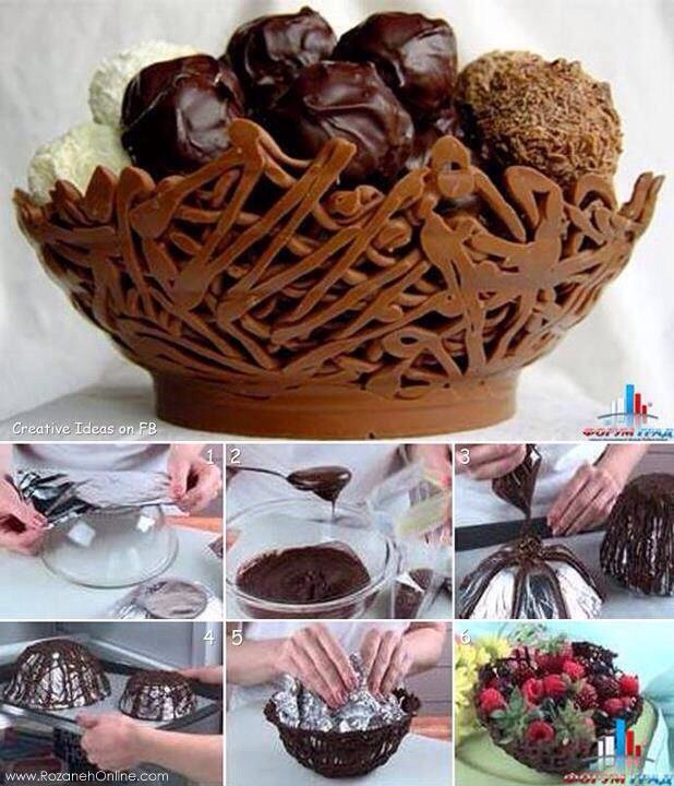 In step 4 put the chocolate basket inside the fridge for 1-2 hours!