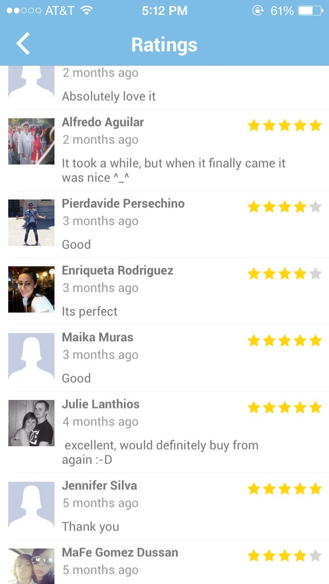Reviews from people who have purchased from this app.