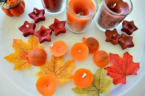 Here are our smaller pumpkin and star candles made using pumpkin shaped and star shaped ice trays.