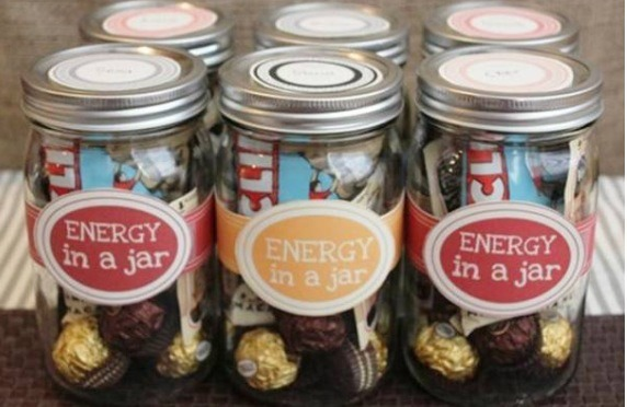 ENEREGY/LOVE IN A JAR !! cute and affordable addition to gifts: find an empty jar, fill it with tons of goodies, find a label making website to create beautiful designs and print it out on a sticker sheet !!!