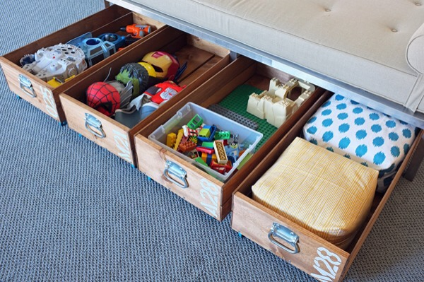 Don't let the extra space under your child's bed go to waste. These rolling storage crates are easy to build and will store lots of toys. You can even add dividers or plastic shoe boxes to organize the contents of each box.