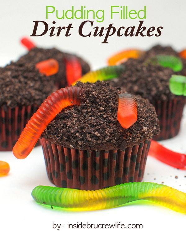 Recipe: http://insidebrucrewlife.com/2011/10/pudding-filled-dirt-cupcakes/