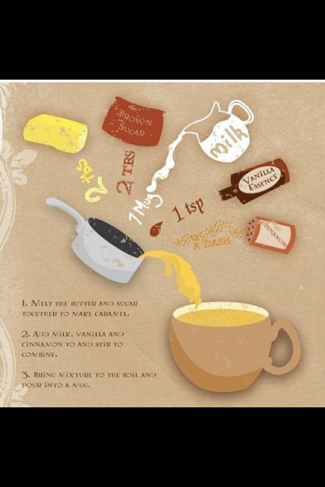 Melt butter and sugar to create caramel, add milk, vanilla and cinnamon to and stir to combine.  Bring mixture to the boil and pour into mug