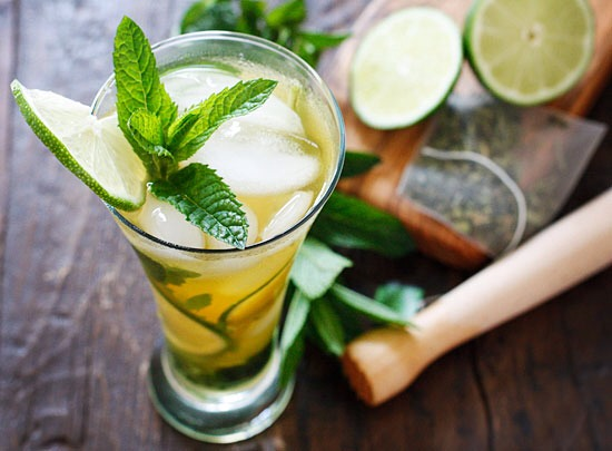 Green tea, mint and lime