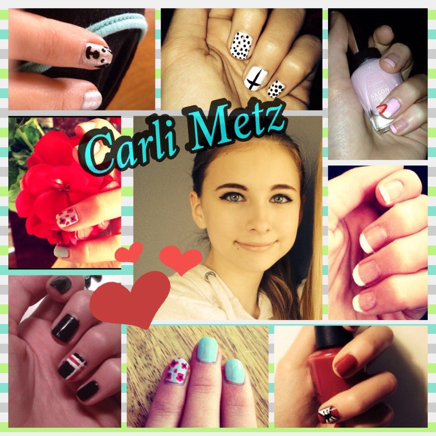 WANT NAILS??? Check out my best friend Carli Metz's account! She's so talented at nail art!! If you friend her she'll accept!