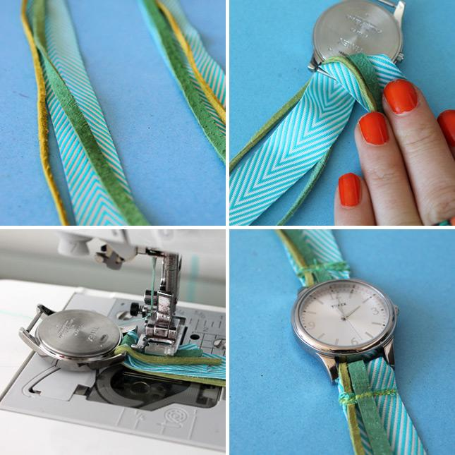 Pull one end through the bottom of the watch and sew. Repeat with the top of the watch.